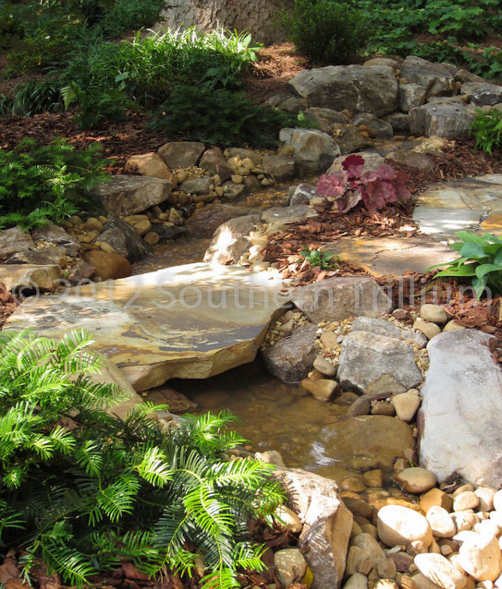 A closer look at the stream and bridge stone.