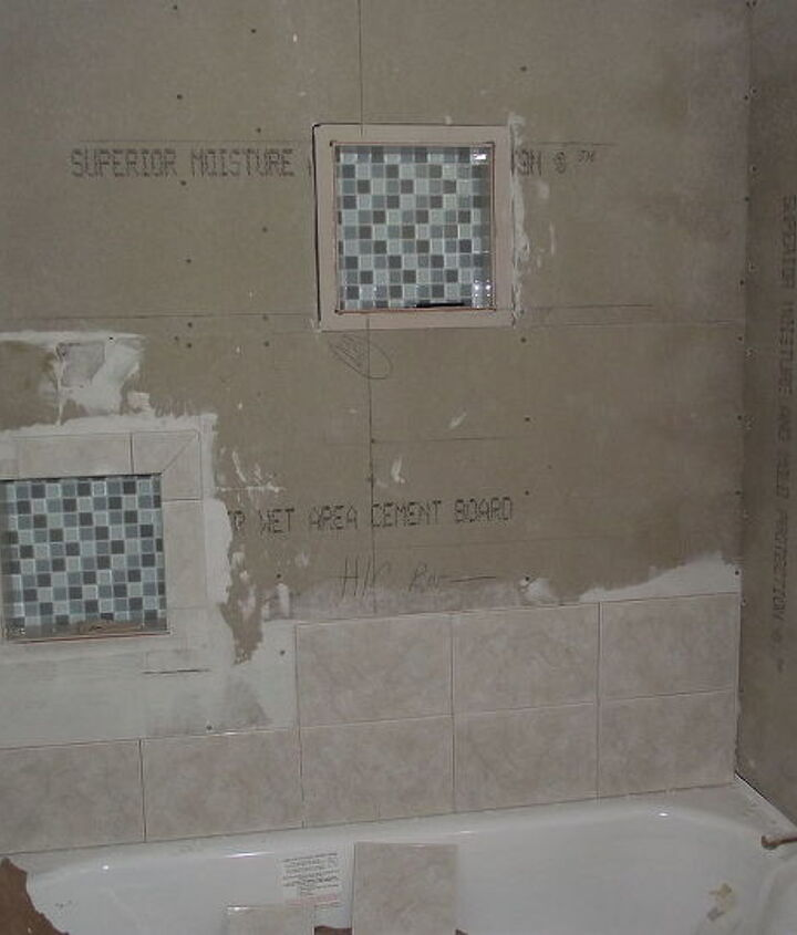 In Process- of tiling the tub surround, with 2 inset shelves.  I taught my mother how to tile.  She and I did all the tile work ourselves.