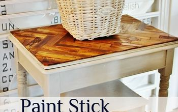 herringbone paint stick tabletop, painted furniture, repurposing upcycling