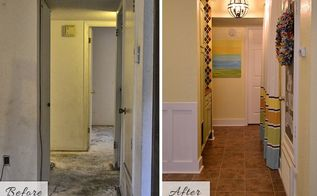 tiny condo laundry room disguised as a hallway, foyer, laundry rooms, Before and after of my small condo hallway laundry room