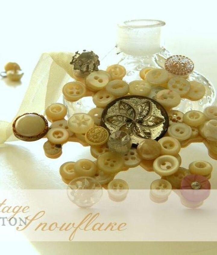 vintage button snowflake, crafts