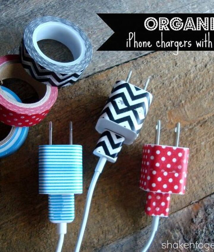 Washi tape is an easy and inexpensive way to organize phone chargers!