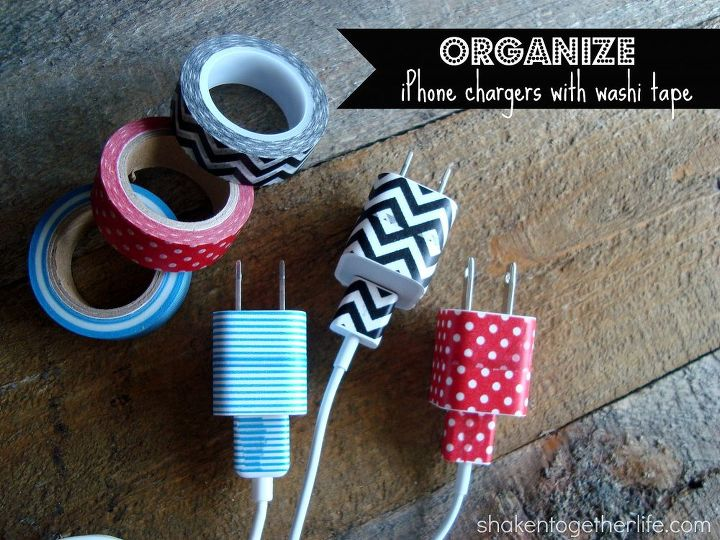 organize drawer full of phone device chargers with washi tape, organizing, Washi tape is an easy and inexpensive way to organize phone chargers