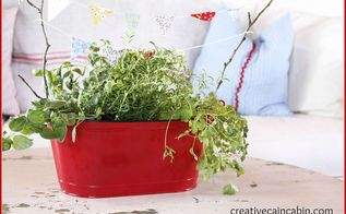 mini kitchen herb garden with bunting, gardening