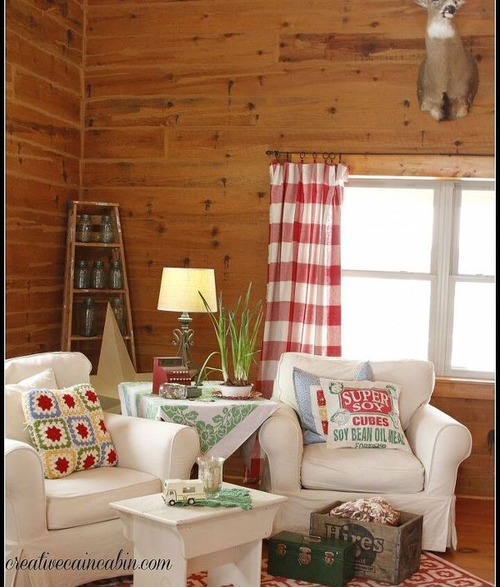 white slipcovered furniture in a log home, home decor, living room ideas, reupholster