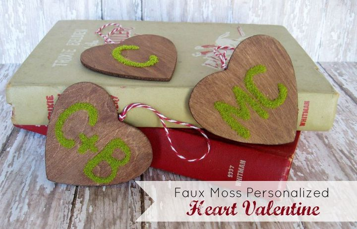 personalized faux moss heart ornament, crafts, seasonal holiday decor, valentines day ideas, Don t these look like something you would have carved into a tree as a teenager