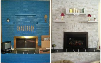 Previously BLUE Brick Painted Fireplace - Before & After Results