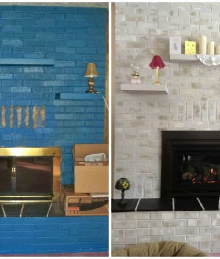 previously blue brick painted fireplace before amp after results, fireplaces mantels, painting