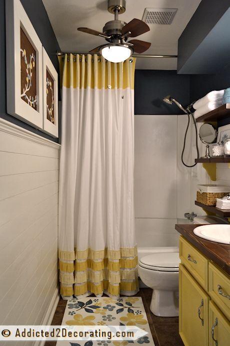 Shower curtain and bathtub.