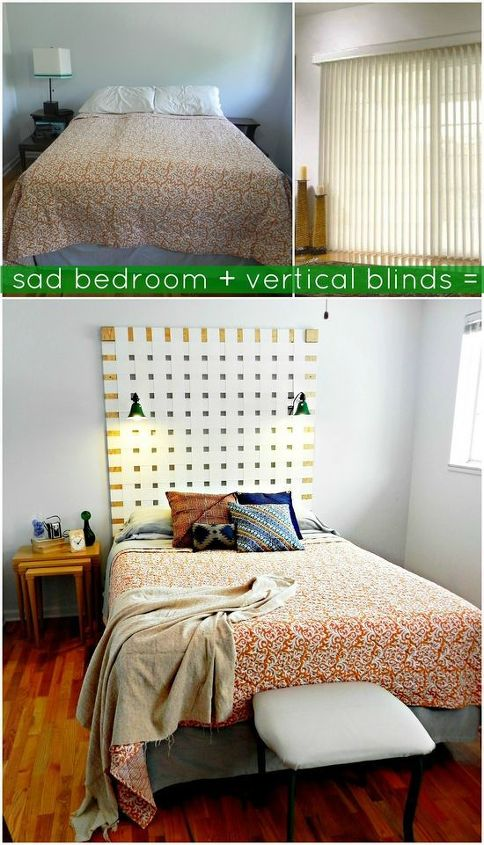 Our sad bedroom + old vertical blinds = a modern new headboard  http://www.madincrafts.com/2013/03/diy-woven-headboard-from-upcycled.html