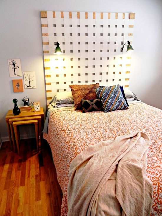This giant woven headboard was made with old vertical blinds!  http://www.madincrafts.com/2013/03/diy-woven-headboard-from-upcycled.html