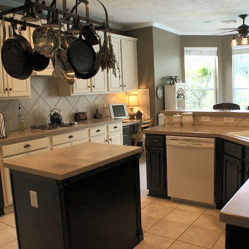 Kitchen makeover with dark and light cabinets mixed