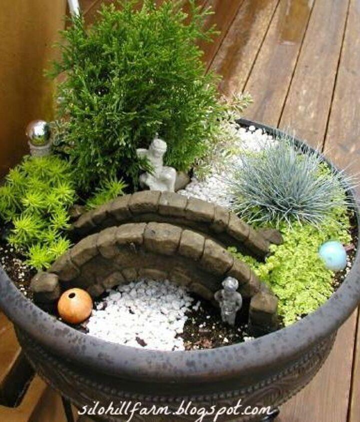 fairy garden in a container, container gardening, gardening