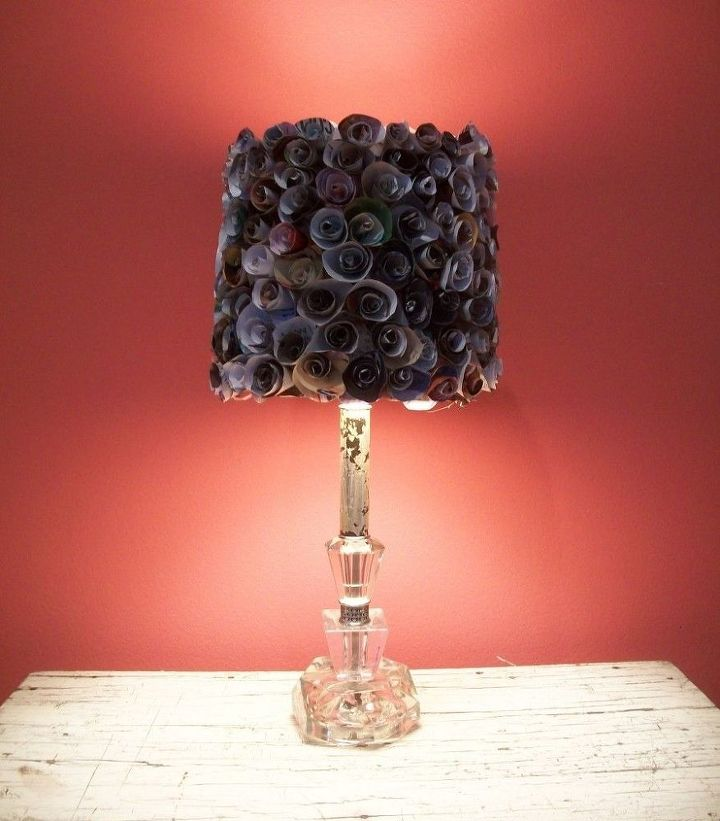 This lampshade was from made from coiled up pieces of pages from old magazines.