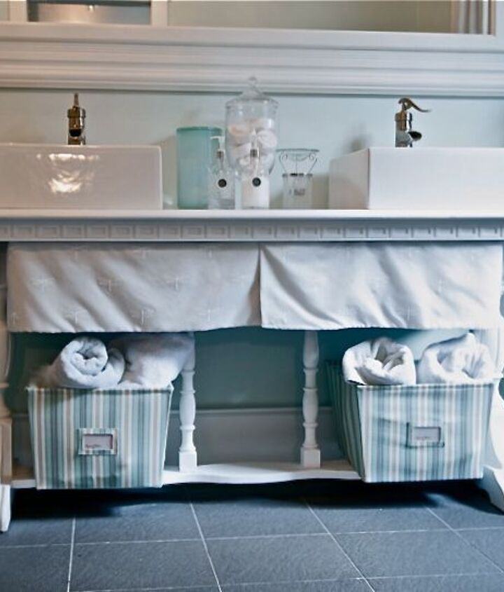 repurposed antique table for a vanity