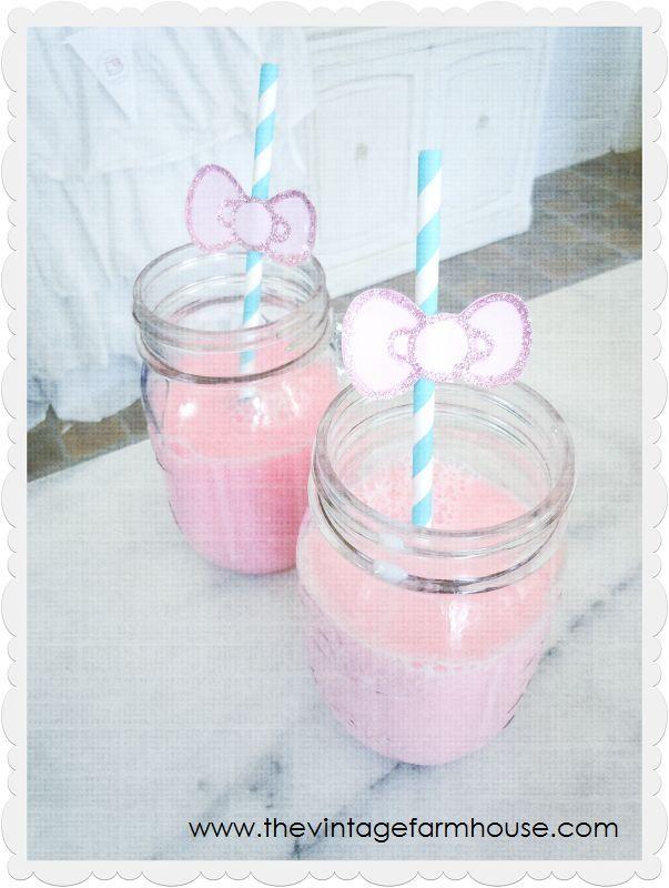 Strawberry milk in mason jars
