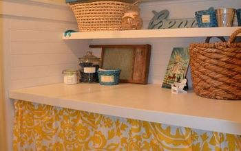 laundry mud room revamp on a budget, chalk paint, cleaning tips, laundry rooms, painting, new shelf countertop and no sew curtain panels to hide the washer and dryer