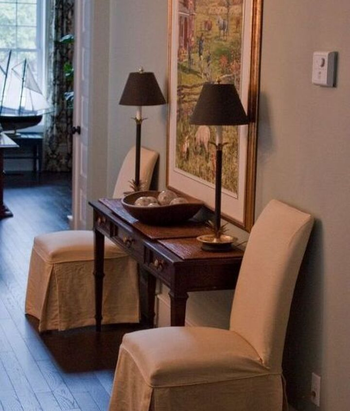 slipcovers dress up your mess a truly ugly table and chairs gets a new lease on, dining room ideas, home decor, painted furniture