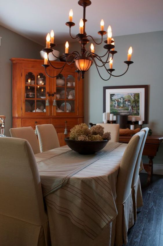 slipcovers dress up your mess a truly ugly table and chairs gets a new lease on, dining room ideas, home decor, painted furniture, After with slipcovers