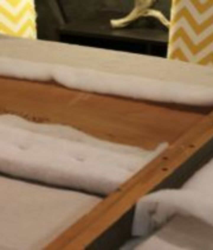 how to upholster a headboard using a curtain panel, home decor, painted furniture, reupholster, window treatments