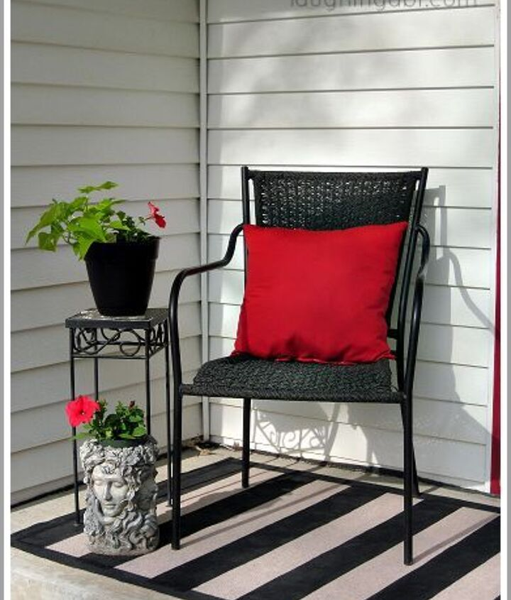 an inexpensive spring porch makeover and diy painted outdoor rug, outdoor living, porches