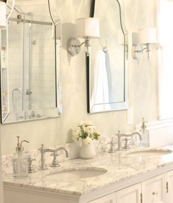 These mirrors (from Lowes) and sconces (from Home Depot) were both very affordable options and I love the look they create in the bathroom.