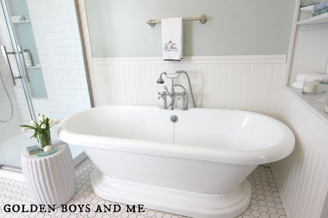 The pedestal tub is my favorite addition to the space.