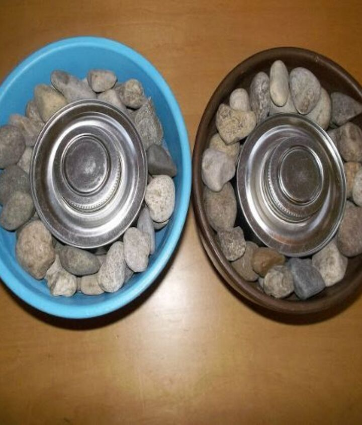 Fill up with stones and place a Sterno can in the middle.