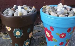 beautify your outdoor area with sterno can fire pots, crafts, outdoor living, When using take the cap off and light the wick Enjoy the ambient light