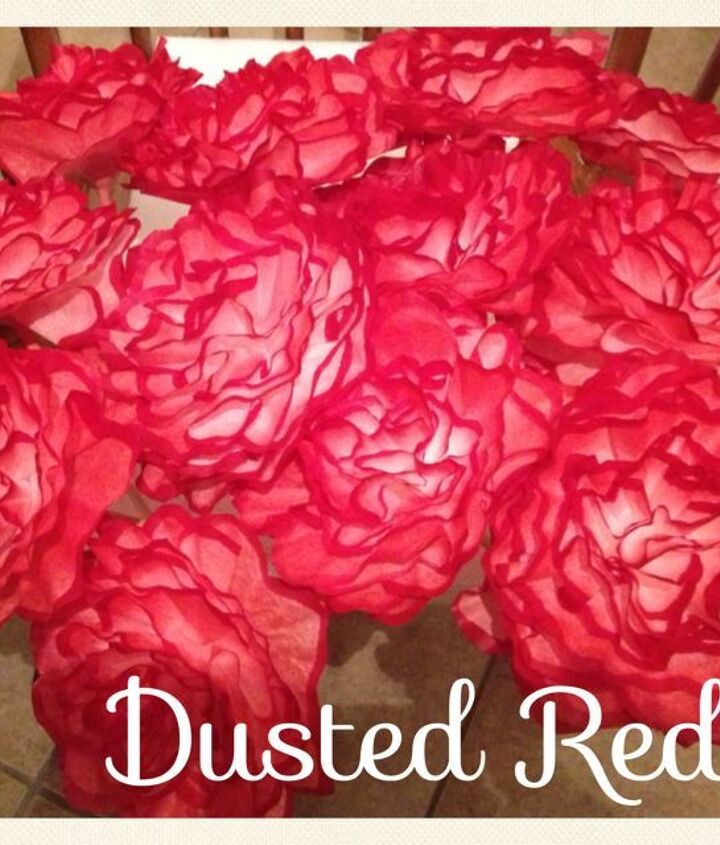"Dusted Red Trim. These flowers were originally made for a ""Zombie Themed Wedding"" These flowers will be used in hurricane vases on the guest tables."