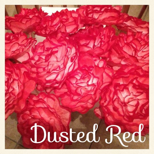 """Dusted Red Trim. These flowers were originally made for a """"Zombie Themed Wedding"""" These flowers will be used in hurricane vases on the guest tables."""
