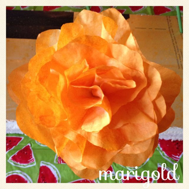 """Marigold. These flowers were originally made for a """"Day of the Dead Themed Wedding"""" These flowers were used on both the tables and the """"Ofrienda"""""""