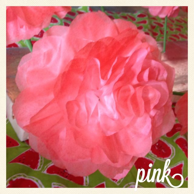 """Pink. These flowers were orignally made for a little girls birthday party, a baby shower, a """"Day of the Dead"""" Themed Wedding."""