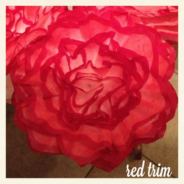 """Red Trim. Originally made for a """"Zombie Themed Wedding"""" They will adorn the guest tables."""