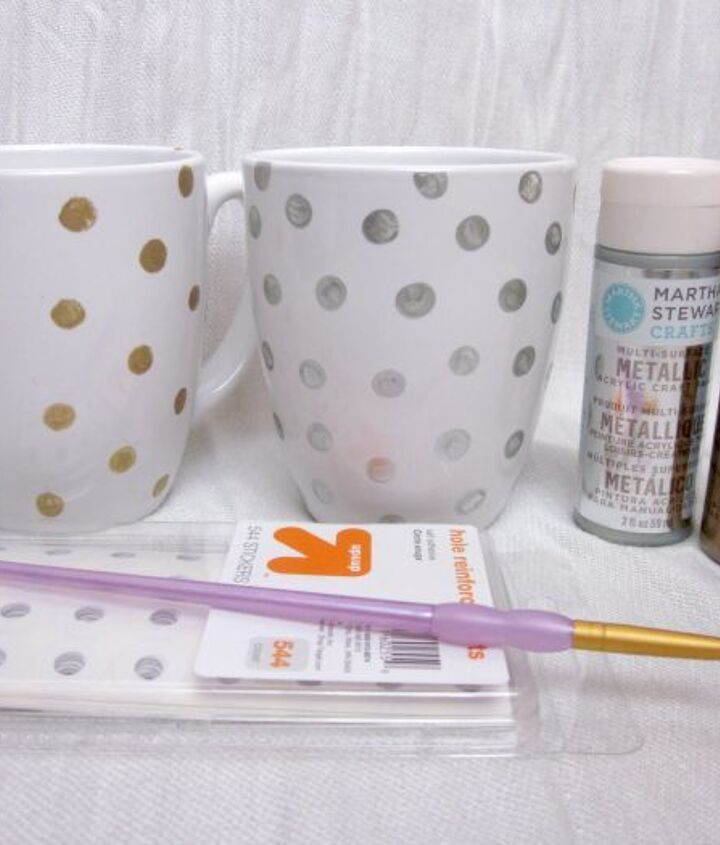 You'll need: a white ceramic coffee mug, reinforcements, a paintbrush, and Martha Stewart multi-surface paints.