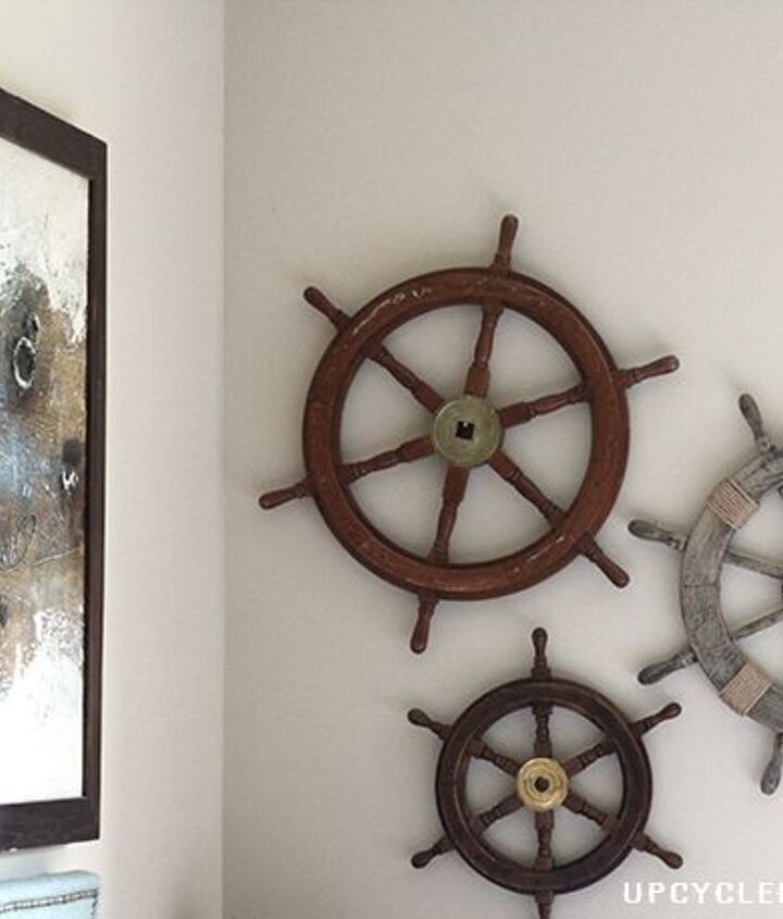 upcycled ship helm into nautical wreath, crafts, home decor, repurposing upcycling, wreaths