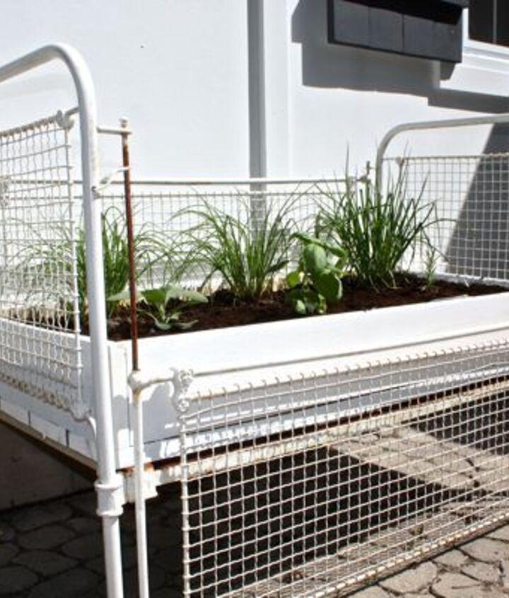 herb garden from an antique crib, gardening, repurposing upcycling