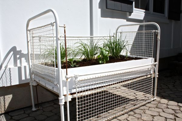 herb garden from an antique crib, gardening, repurposing upcycling