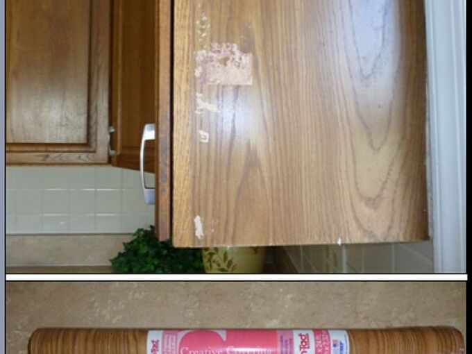 quick oak cabinet fix with tiny budget, home maintenance repairs, kitchen cabinets, woodworking projects, Original Oak Cabinet with Unsightly Surface Damage No Time Nor Budget to Replace Contact Shelf Liner to the Rescue 3 00 Fix