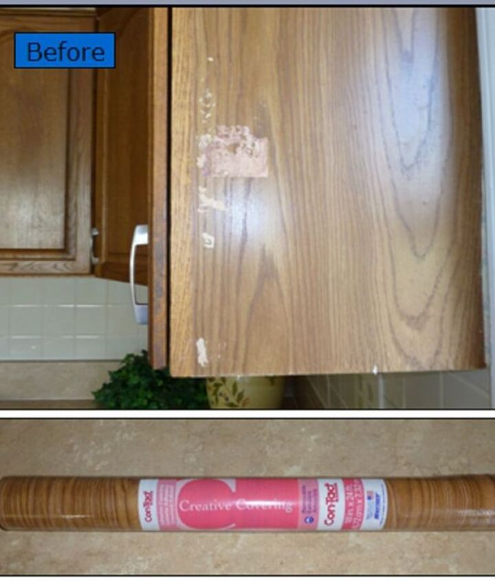 Original Oak Cabinet with Unsightly Surface Damage -No Time Nor Budget to Replace... 'Contact' Shelf Liner to the Rescue! $3.00 Fix