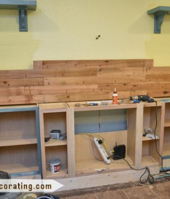 I made the countertop out of cedar 2 x 4's using a Kreg Jig.  The countertop is 12 feet long, so I built it in place.  All of the pocket holes are on the bottom, so the top is perfectly smooth.
