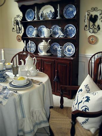 I love my Welsh dresser!  It sets such a pretty backdrop for my collection of Spode Blue Room plates and my Red Cliff ironstone collection!