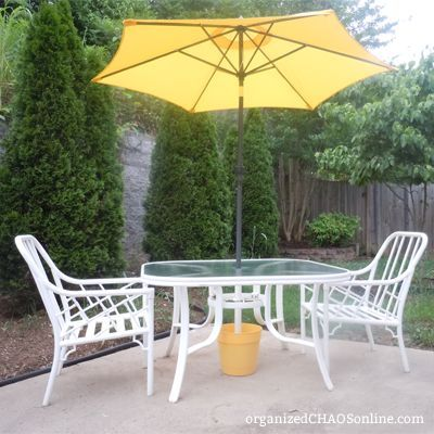 Make your own outdoor umbrella base for cheaaap hometalk make your own outdoor umbrella base for cheaaap diy outdoor furniture outdoor living solutioingenieria Image collections