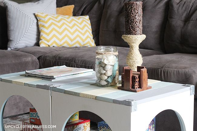 beach inspired pallet coffee table, diy, painted furniture, pallet, repurposing upcycling