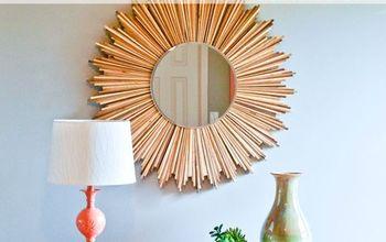 diy stained wood shim starburst mirror, crafts