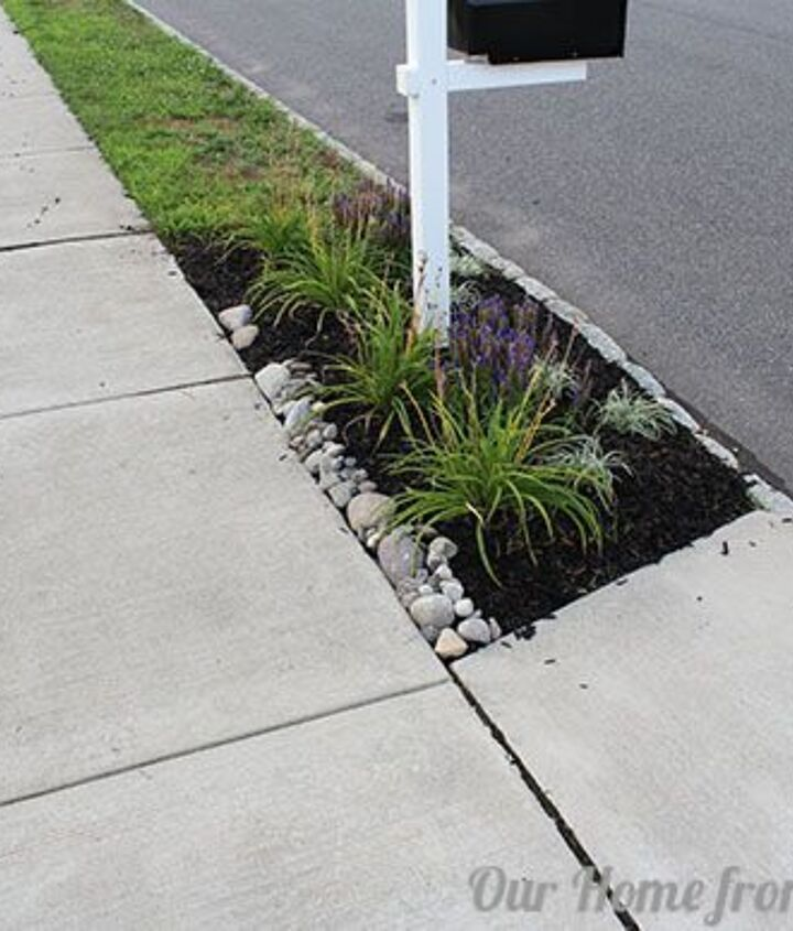 Smaller stones can be placed after the larger rocks are set and can fill in open gaps.  You only need to cover a few inches of the flower bed edge to prevent washout.