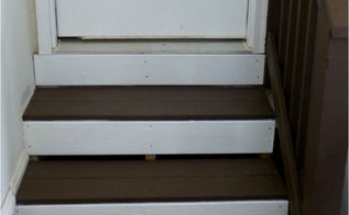 renewing boring garage steps, garages, stairs, The back or vertical part of the steps were painted a semi gloss white It took 3 coats since I did not prime first