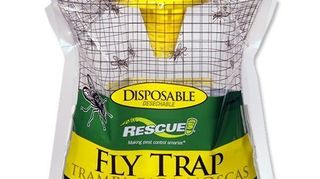 , Rescue Fly Trap cut around the circle on the top pull the yellow top up fill with water to the fill line hang and watch it fill up with flies