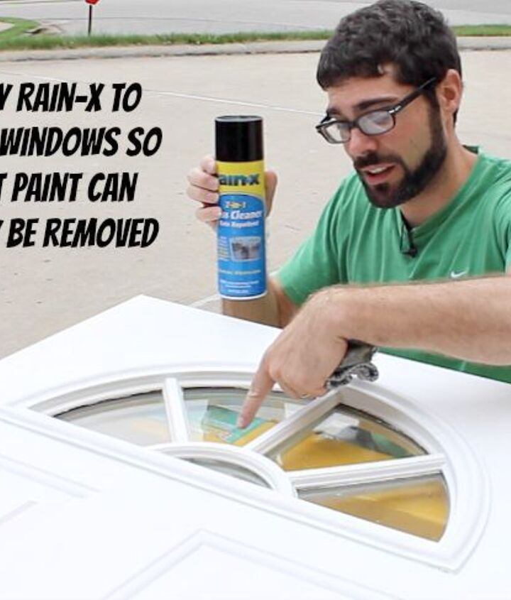 Apply Rain-X to windows. This makes paint removal on glass easy.
