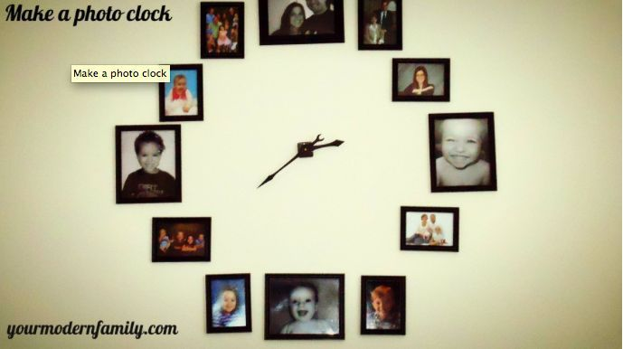 Keep your furniture clutter free by displaying your family photos on the wall- for a clock!  Easy directions on yourmodernfamily.com